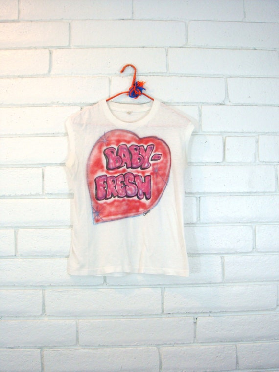 """80's AIRBRUSHED RAP T-SHIRT vintage muscle tee heart hip hop """"baby fresh"""" sleeveless graphic knit top S"""