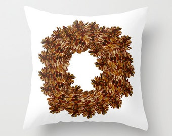 Decorative Pillow Cover, Pinecone Wreath Indoor pillow