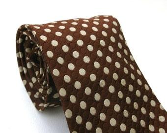 Men's Brown Polka Dot Tie