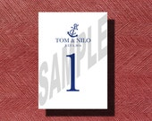 Printable Wedding Table Numbers, Custom Designed Anchor Wedding Reception Table Numbers 1-20, Nautical Wedding