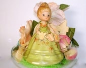 Lovely Lady Figurine in Glass Container Home Decor Floral Accents Light Green Gown TaMble Decor Handcrafted OOAK