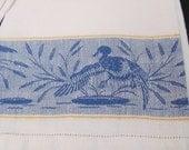 Set of 2 Vintage White Blue Duck Linen Guest Hand Tea Dish Kitchen Towels