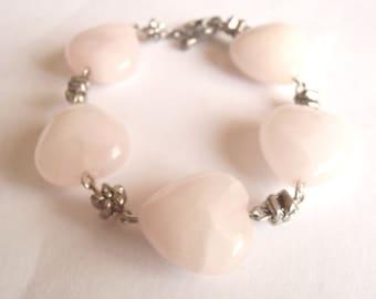 Pink Heart Bracelet Rose Quartz Pale Pink Stone Bead Bracelet Silver Tone Shabby Cottage Villacollezione