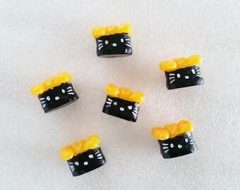 6pcs - Tamago Kitschy Kitty Sushi Decoden Cabochon (13mm) HKF10009