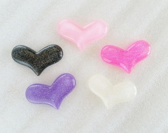 5pcs - Large Glitter Hearts Decoden Cabochon (45x26mm) HRM10006