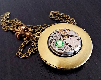Polished Brass Locket with Vintage Watch movement - Steampunk Inspired Timeless Relic