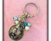 CUSTOM PHOTO BEZEL Pendant Necklace Or Keychain With Matching Beads And Charm