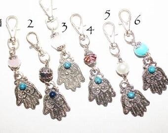 hamsa keychain, hamsa key chain, hamsa charm, metal keychain, evil eye keychain, silver keychain