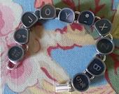 vintage typewriter key bracelet, JOY and letters X Z & B  Valentines gift