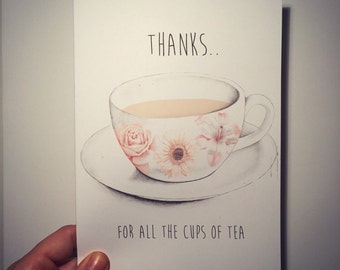 illustrated 'Thanks for all the cups of tea'  thank you card