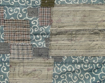 SALE! 25% OFF Large Antique Indigo Textlie. Japanese Folk Art. Blue Green Katazome (Shop Ref: 956)