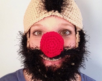 Wooly Willy inspired, Crocheted, Bearded Hat