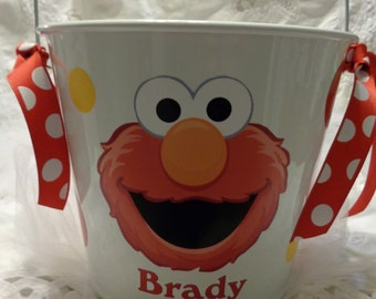 Personalized Bucket-Boy or Girl-Elmo Theme