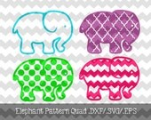 Elephant Desig Quad.DXF/.SVG/.EPS File for use with your Silhouette Studio Software