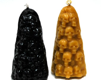 Beeswax Pillar Candle - Stack of Skulls Beeswax Candle - Skull Candle - Halloween Pillar Candle