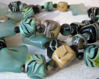 Pale Green, Sand & Black Necklace and Earrings Set - soft green, copper toggle clasp