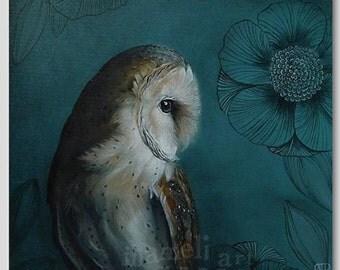 Woodland Owl Bird Print, Wall Art Print, Acrylic Painting, Illustration, wall art, wall decor, owl picture, Whimsical Bird Print