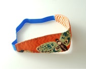 Retro Mod Style Reversible Fabric Headband for Women, Teens, or Girls. Orange and Blue Butterfly.