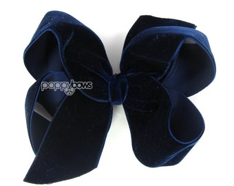 "Navy Blue velvet hair bow, 4"" hair bow, Christmas hair bow, girls hair bows, baby hair bow, velvet hair clip, fast shipping, blue hair bows"
