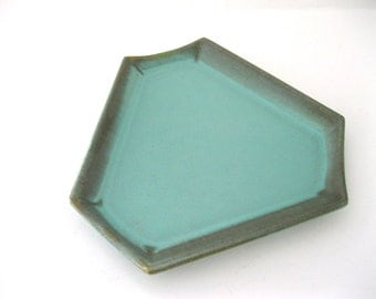 US Ceramic Tile Hexagon Plate Romany Spartan Blue Green Glazed Coin Pin Trinket Dish Canton Ohio Geometric  - FL