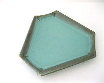 US Ceramic Tile Hexagon Plate Romany Spartan Blue Green Glazed Coin Pin Trinket Dish Canton Ohio Geometric  - FL