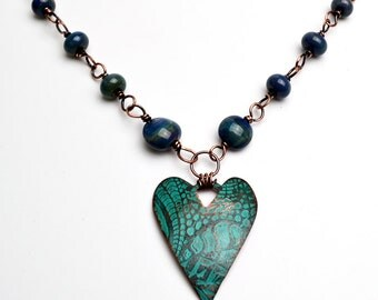 Copper Heart Etched Pendant with Verdigris Patina Lampwork Beads Necklace