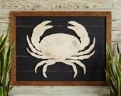 Rustic Crab Art Wooden Framed Coastal Beach Wall Decor Coastal Living Decor