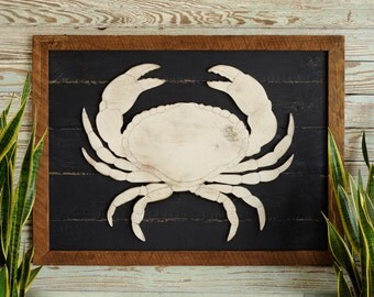 Rustic Crab Art Wooden Framed Coastal Beach Wall Decor Coastal Decor Living Room