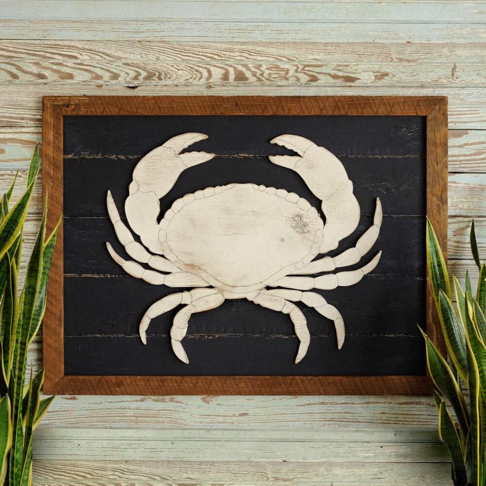 Rustic coastal wall decor : Rustic crab art wooden framed coastal beach wall decor