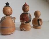 3 vintage wooden dolls . vintage dolls . handpainted dolls . Kokeshi nodders . vintage bobble head dolls Japanese bobble heads nodder dolls