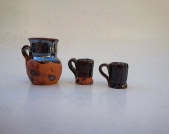 miniature pottery cups and pitcher . miniature mugs . rustic miniature dishes . miniature clay earthenware . doll house decor . tiny dishes