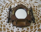 Doll House Miniature Mirror Garment Umbrella Ornate Wood Wall Rack