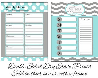 Double sided dry erase menu board or weekly planner - Aqua