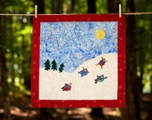 Quilted Wall Hanging- Winter Decor- Snowy Day- Blue Sky, Sunshine, and Sledding