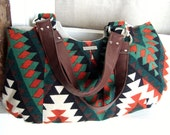 Large Tote Bag Handbag / Slouchy Shoulder Bag / Southwestern Print with Vegan Leather Handles / Emmaline Bag