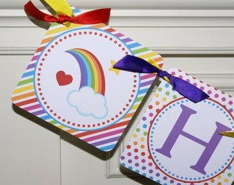 Over the Rainbow Birthday Banner, Rainbow Happy Birthday Banner, Rainbow Banner, Rainbow Theme, HANDMADE by The Party Paper Fairy - RAIN1