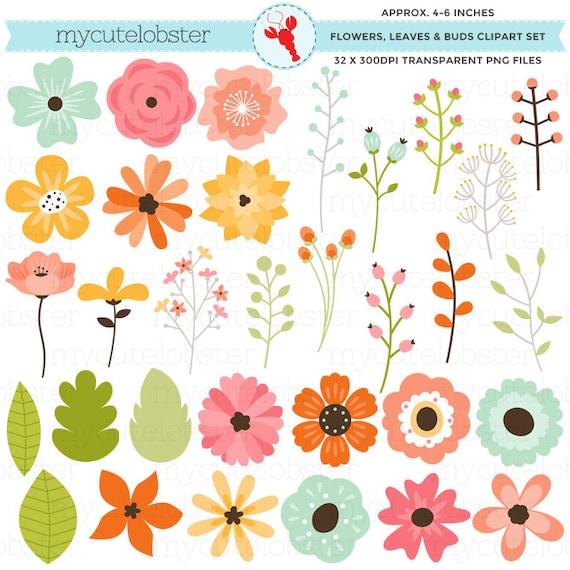 Floral Elements Clipart Set flowers leaves buds spring