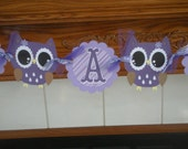 Owl Its A Girl Baby Shower Banner, Owl Banner, Purple and lavender owl banner,Photo Prop Matching Pom Poms Are Available