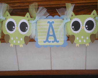 Owl Banner, Its A Boy Owl Banner, Open Eye Owl Baby Boy Shower Banner, Gender Reveal banner, Baby Boy Banner, Matching Poms Are Available