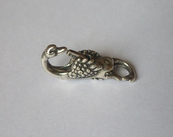 1 Sterling Silver 925 Double Head Swan Lock Lobster Clasp beads