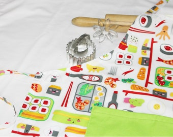 Sushi Adult Apron with green pocket