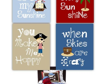 """You are my sunshine art prints // Pirate Decor // Pirate wall art for kids // Pirate Nursery Decor // Set of Four 5x7"""" prints"""