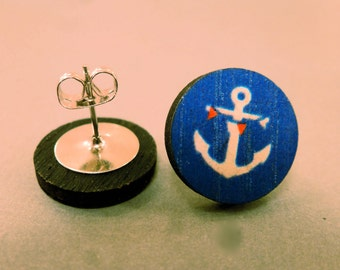 Anchor Fake Plugs: Wooden Anchor Stud Earrings, Fake Plugs, Anchor Plugs, Nautical, Navy, Sailor