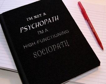 Sherlock Psychopath / Sociopath -  Embroidered Blank Journal Notebook MTCoffinz