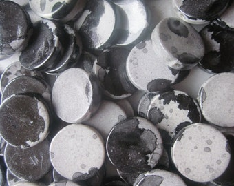 Black and Grey Flat Acrylic Beads 18mm 20 Beads