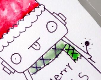 Original Watercolor Illustration ACEO Trading Card Robot, Christmas Illustration, Robot Christmas, Holiday, Kawaii Santa