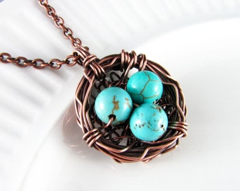 Wire Wrapped Pendant Bird Nest Necklace Copper Turquoise and Copper Jewelry Wire Wrapped Jewelry Copper Necklace Wire Wrapped Necklace