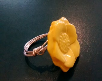 Yellow Flower Wire Wrapped Ring