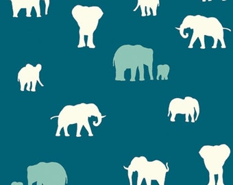 The Herd Teal HALF YARD Serengeti JayCyn Birch Organic Fabrics Wildlife Outdoors Elephants Blue All Natural