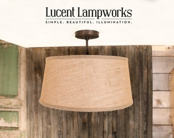 "Lighting Drum Shade With 18"" Taper Drum in Warm Burlap Fabric Drum Shade"